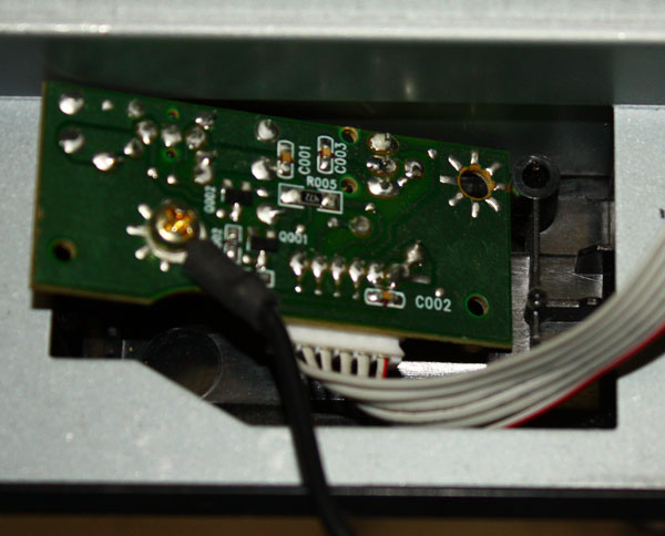 Photo of the rear of the power switch circuit board