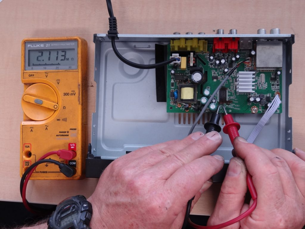 Inside view of the Digistar DS-612T set top box showing the conductive glue.